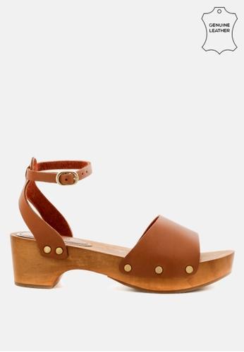 RAG & CO 褐色 沃登木底凉鞋 E1C7BSH0730EF7GS_1