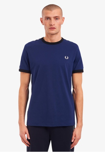 Fred Perry navy M6347 - Taped Ringer T-Shirt - (French Navy) 1C6CEAA502C4A8GS_1