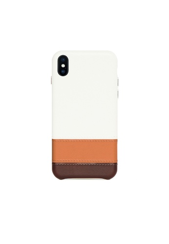 OBX white Irish Layered iPhone Xs Max Striped Leather Snap-On Case F9A8EACAA38782GS_1