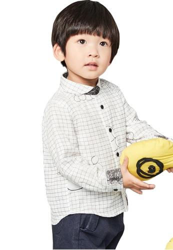 M.Latin white Checkered Long Sleeve Button Shirt with Prints B5C39KA59D674DGS_1