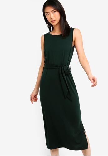 ZALORA BASICS green Basic Sleeveless Belted Midi Dress 60067AA6934D8EGS_1