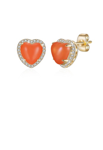 Glamorousky white Simple Plated Champagne Gold Red Heart Stud Earrings with Austrian Element Crystal FD097AC7896A11GS_1