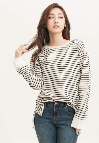 H:CONNECT white Stripe Design Long Sleeves T-Shirt FB4C4AAF02D37FGS_1