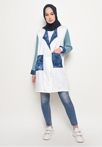 My Daily Hijab white and blue Rossa Tye Dye Blazer B859EAA7AAAEBEGS_1