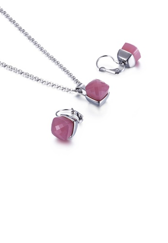 Glamorousky pink Fashion Simple Geometric Square 316L Stainless Steel Necklace and Earring Set with Pink Cubic Zirconia D8C9EAC7B17B08GS_1