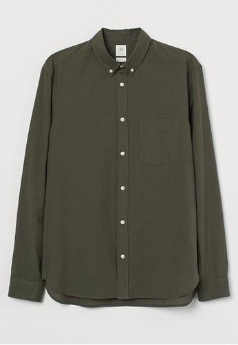 H&M green Long-Sleeved Shirt FBA99AA17B128AGS_1