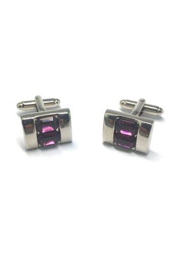 Splice Cufflinks purple and silver Purple Crystals Inserts Cufflinks SP744AC61FVESG_1