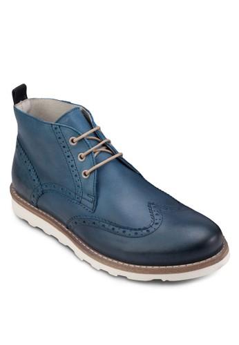 zalora 男鞋 評價雕花布洛克踝靴, 鞋, 鞋