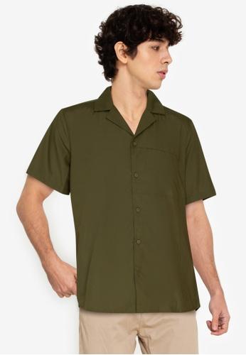 ZALORA BASICS green Notched Lapel Short Sleeve Shirt 2BF69AA24C8D97GS_1