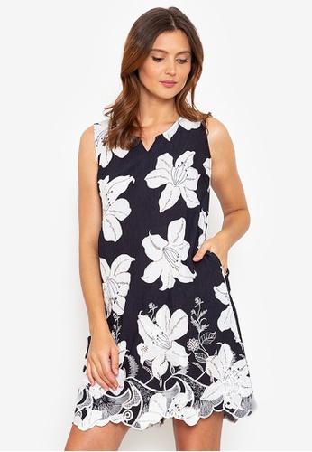 Beyond The Seams black Evita Woven Tropical Print Embroidered Shift Dress 4286DAA1277E45GS_1