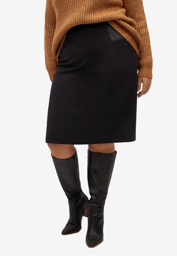 Violeta by MANGO black Plus Size Elastic Panels Skirt ADC10AA79A000EGS_1
