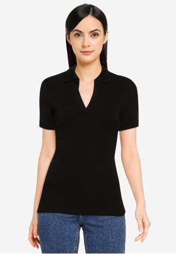 Forever New black Mina Polo T-Shirt 49712AA59B9BB8GS_1