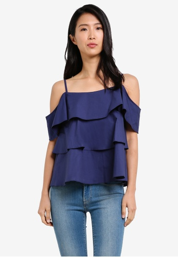 KLEEaisons navy Cold Shoulder Layered Top KL492AA0RZMTMY_1