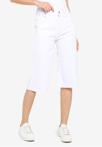 ZALORA BASICS white Raw Hem Denim Culottes 5DF8EAA9831436GS_1