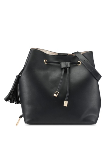 ZALORA black Bucket Bag With Tassle Detail 68FEAACD26B4BDGS_1