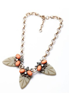 Leaf with Coral Accent Necklace