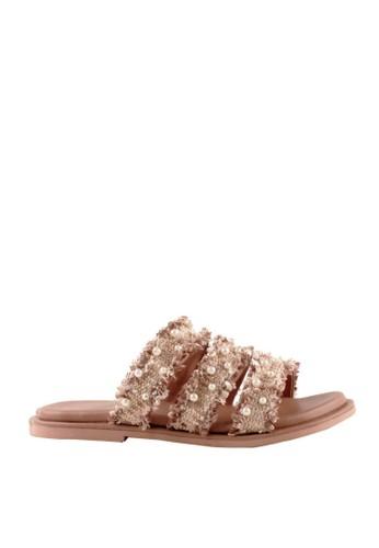MINKA beige COCO Cream Tweed Pearl Sandals 6ECC4SH2A04A25GS_1