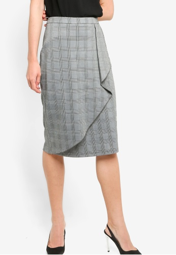 ZALORA WORK multi Waterfall Scuba Midi Skirt B3D41AADFF1B4DGS_1