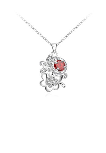Glamorousky red Fashion and Elegant Flower Pendant with Red Cubic Zircon and Necklace 3444BACC758B5EGS_1
