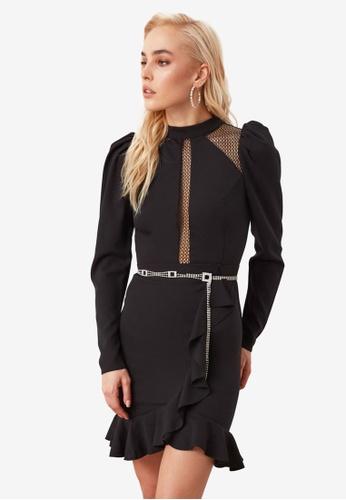 Trendyol black Openwork Ruffle Detail Dress D33FEAAFE479F1GS_1