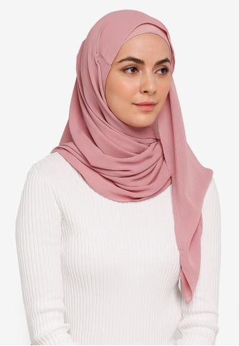 Hijabii pink Anya Textured Chiffon Scarf in Dusty Pink 424B3AA0667B75GS_1