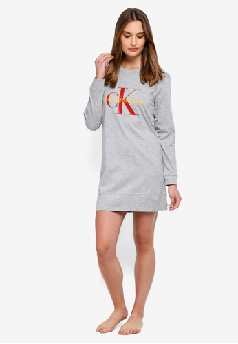 Buy Calvin Klein Monogram Long Sleeve Night Shirt - Calvin Klein Underwear  Online  ed7fae940