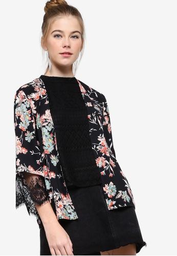 Something Borrowed black Lace Insert Kimono 0C0F0AAC040743GS_1