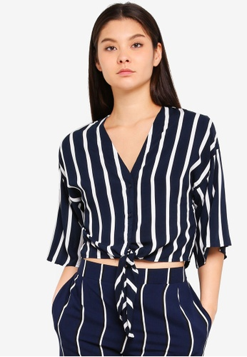 Cotton On blue and navy Freddie Tie Front Blouse E08EFAA18132A7GS_1
