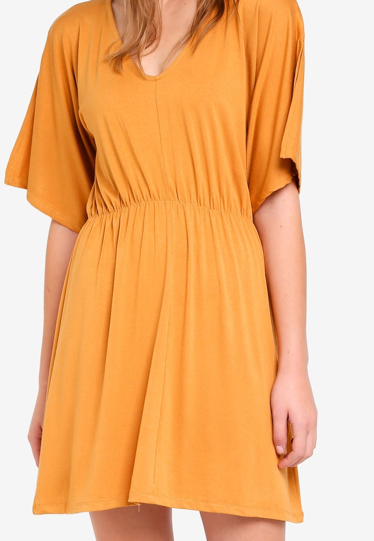 Dress Reina Yellow Cotton Spruce Fit Flare V Neck On wq1zqPIZ
