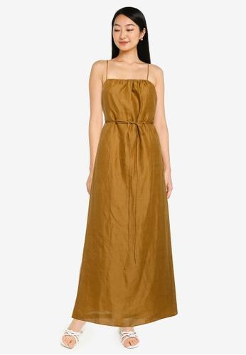 Banana Republic yellow Strappy Shirred A Line Maxi Dress 35D2FAAA4718CCGS_1