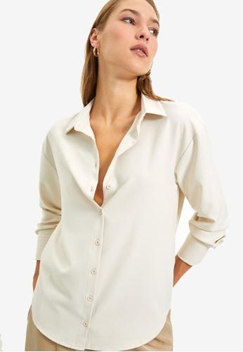 Trendyol beige Stone Shirt 7DD1FAA1A859FCGS_1