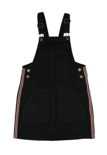 FOX Kids & Baby black Side Stripes Denim Dungaree Dress 407D5KADACE2E4GS_1