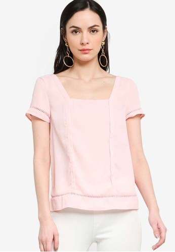 ZALORA pink Square Neck Trim Top 965B6AA789AF9EGS_1