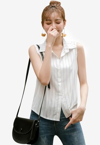 Tokichoi white Striped Sleeveless Blouse 8FDAFAA2628247GS_1