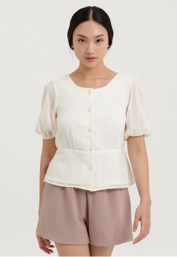 Cloth Inc beige Rei Square Neck Blouse 6699AAA4E9C505GS_1