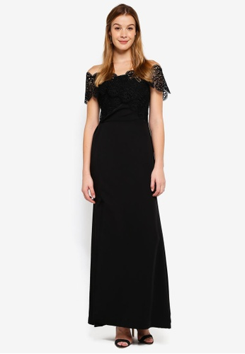 True Decadence black Off Shoulder Cutwork Lace Maxi Dress E0114AA28698F7GS_1