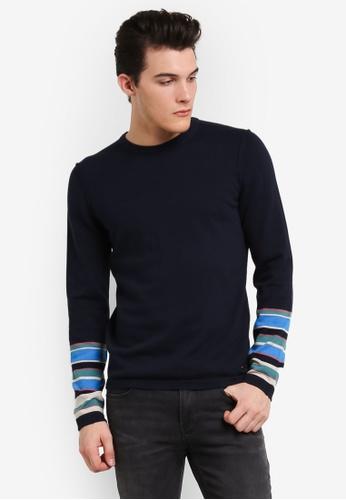 Boss Orange blue and navy Astrygan Sweater BO434AA0RIE4MY_1