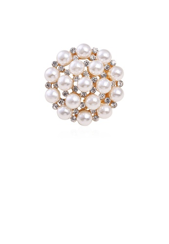 Glamorousky white Fashion and Elegant Plated Gold Geometric Flower Imitation Pearl Brooch with Cubic Zirconia E23D2ACA83A00FGS_1