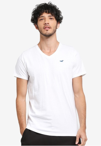 Hollister white Core Icon V-Neck T-Shirt 5D736AA84384CCGS_1
