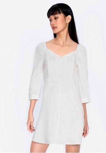 ZALORA BASICS white Sweetheart Neckline Fit & Flare Dress 83E1DAAB429A82GS_1