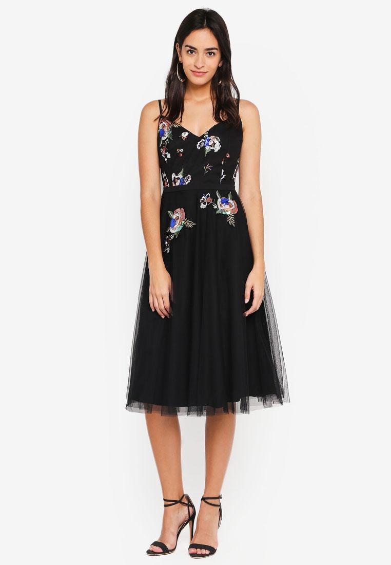 Sequin Midi Black Dress Little Mistress BUXOPwUx