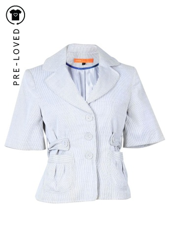 Cynthia Steffe grey Pre-Loved cynthia steffe Grey And White Striped Jacket D6E3EAAE7DEF04GS_1