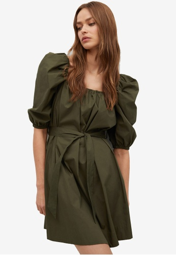 Mango green Popelin Puffed Sleeves Dress 18FFCAA613D5C4GS_1