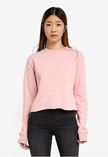 Miss Selfridge pink Pink Crop Sweat Shirt 157E9AA1D52AE3GS_1