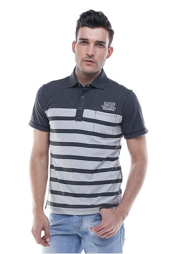 LGS - Regular Fit - Kaos Polo - Motif Garis - Abu