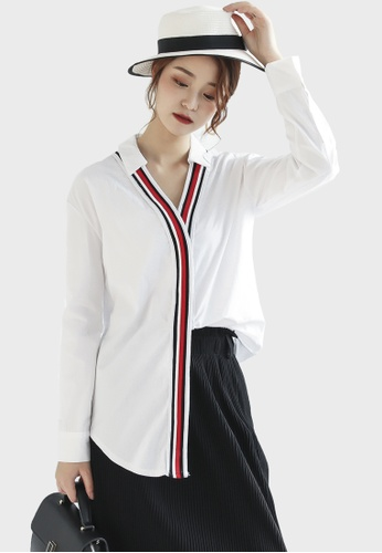 Shopsfashion white Bordered Boy Friend Shirt in White BD162AA7811295GS_1