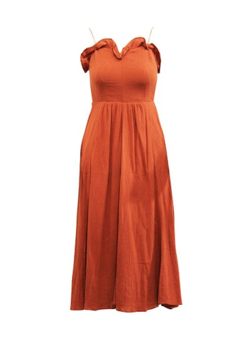 Reformation 褐色 reformation 隱藏式短褲的棕色超長連衣裙 E745EAA93CABFFGS_1