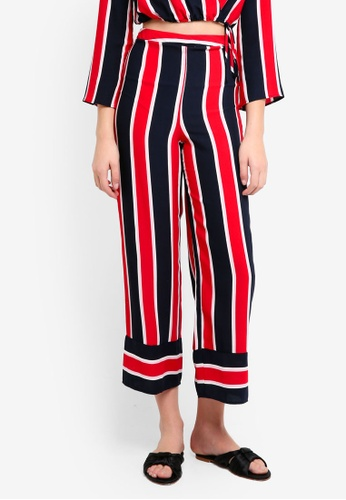 Miss Selfridge navy Petite Red Navy Stripe Trousers 51A1EAA8447795GS_1