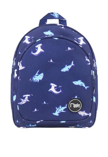 Ripples blue Sharks Digital Print Kids Backpack 486A5KCDB8DC4BGS_1