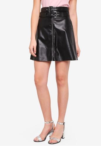 LOST INK black Double Buckle Belted Mini Skirt 2F92CAA9AE4DE5GS_1